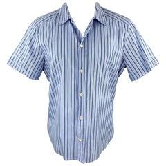 PRADA Size M Blue Stripe Cotton Button Up Short Sleeve Shirt