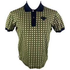 PRADA Size M Navy Beige & Green Circle Print Cotton Buttoned Polo