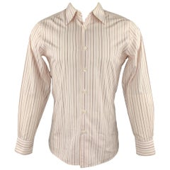 PRADA Size M White Stripe Cotton Button Up Long Sleeve Shirt
