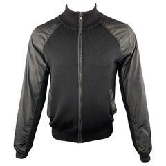 PRADA Size S Black Wool Knit Nylon Panel Zip Up Jacket