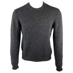 PRADA Size S Charcoal Wool Blend Crew-Neck Elbow Patches Pullover Sweater