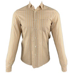 PRADA Size S Khaki Print Cotton Button Up Long Sleeve Shirt