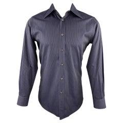 PRADA Size S Navy Stripe Cotton Button Up Long Sleeve Shirt