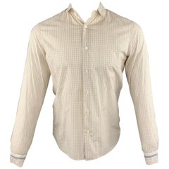 PRADA Size S Yellow Window Pane Cotton Button Up Long Sleeve Shirt