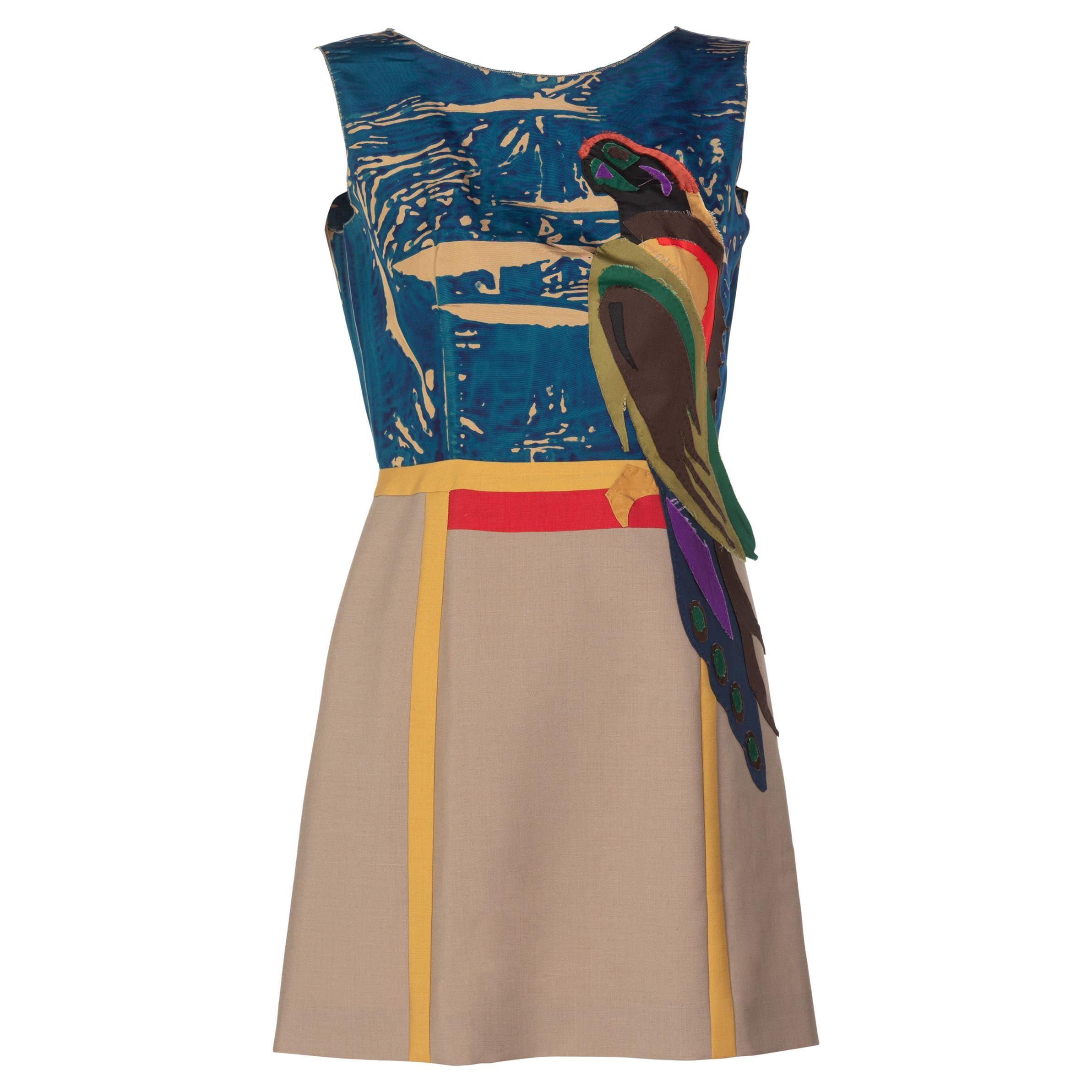 Prada Sleeveless Silk Mohair Parrot Applique Dress Runway, 2005