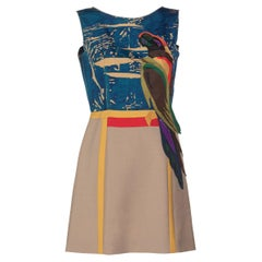 Prada Sleeveless Silk Mohair Parrot Applique Dress Runway, 2005