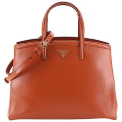 Prada Slim Convertible Tote Vernice Saffiano Leather East West