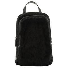 Prada Sling Backpack Fur with Quilted Tessuto