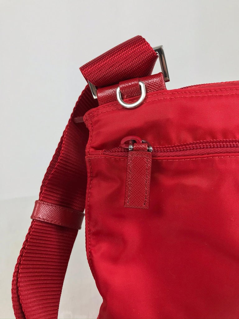 Women's or Men's Prada Small Nylon Cross Body Handbag in Red