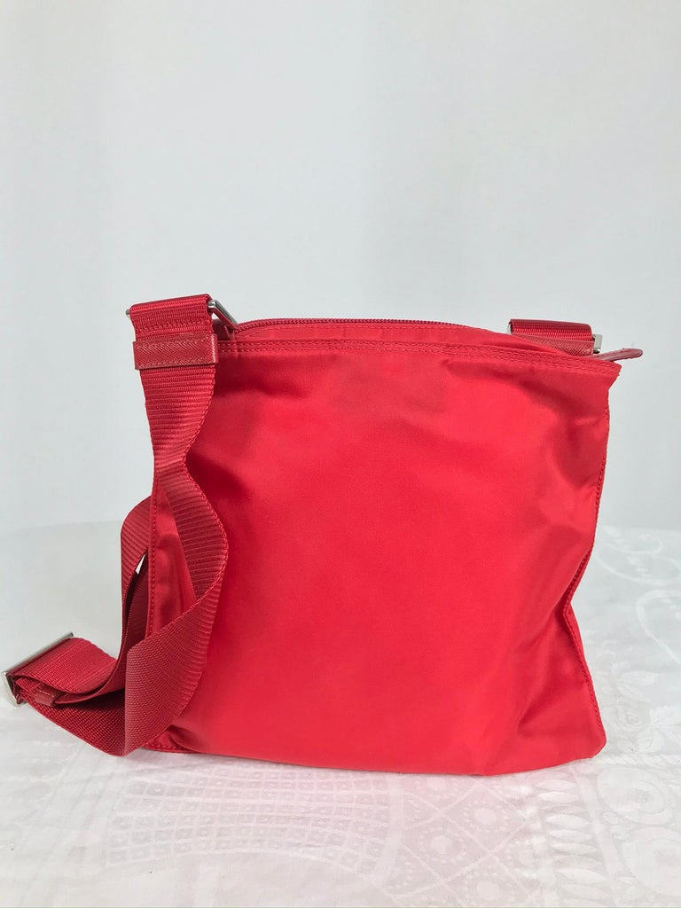 Prada Small Nylon Cross Body Handbag in Red 2