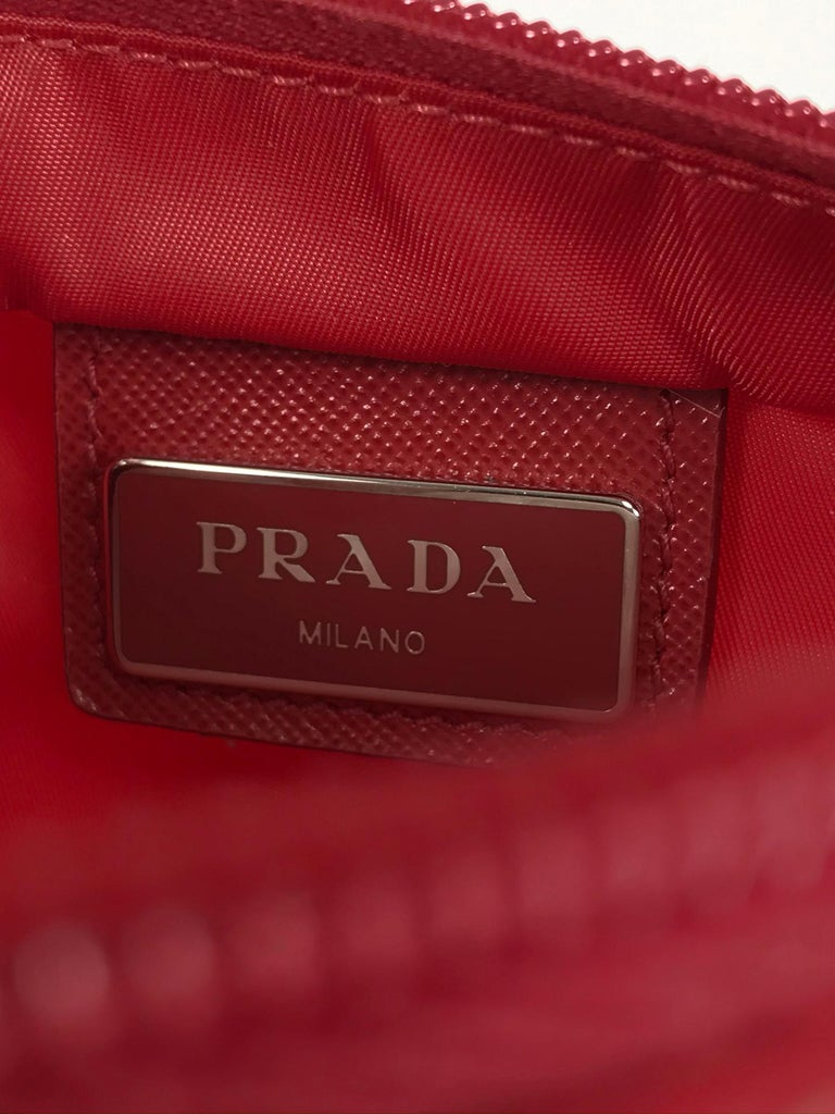 Prada Small Nylon Cross Body Handbag in Red 4