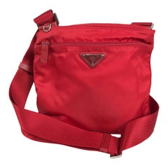 Prada Small Nylon Cross Body Handbag in Red