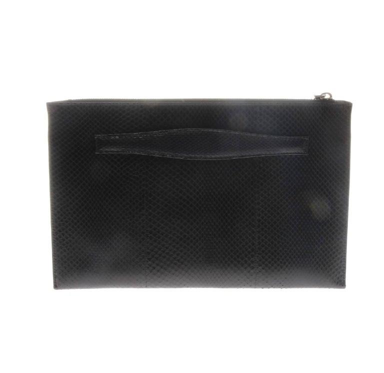 Black Prada Snakeskin Clutch Document Holder For Sale