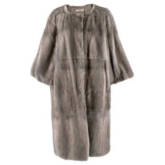Prada Soft and lightweight grey mink Longline Coat - Size US 6