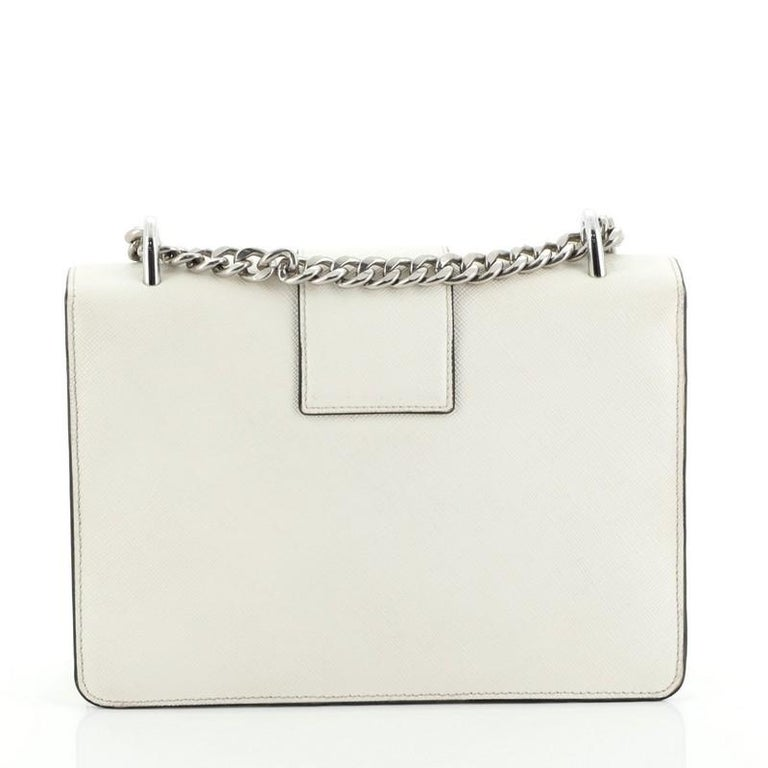 Prada Sound Chain Shoulder Bag Saffiano Leather Small In Good Condition For Sale In New York, NY