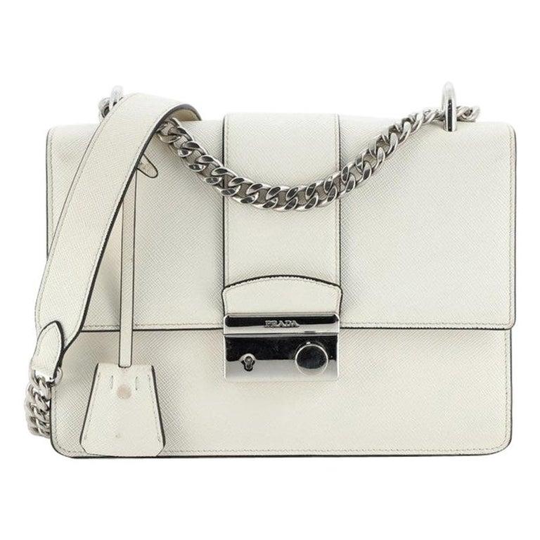 Prada Sound Chain Shoulder Bag Saffiano Leather Small For Sale