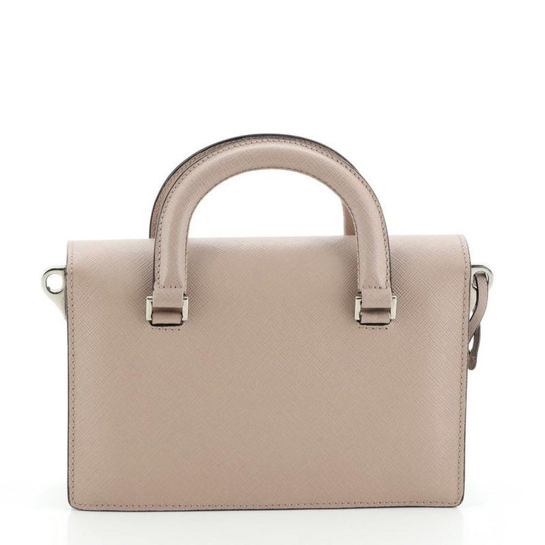 Prada Sound Convertible Satchel Saffiano Leather Small In Good Condition For Sale In New York, NY