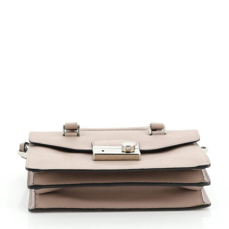Women's or Men's Prada Sound Convertible Satchel Saffiano Leather Small For Sale