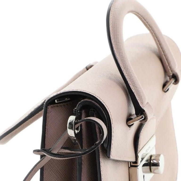 Prada Sound Convertible Satchel Saffiano Leather Small For Sale 2