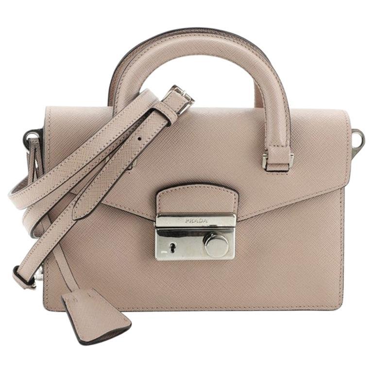 Prada Sound Convertible Satchel Saffiano Leather Small For Sale