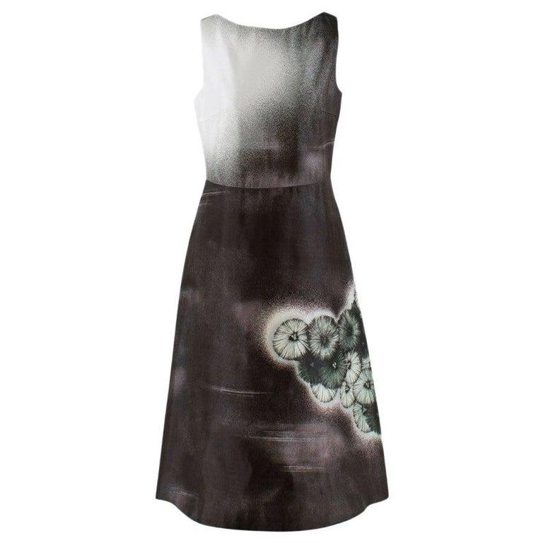 Prada Special Edition Bi-Colour Printed Silk Dress US 6 For Sale