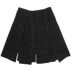 Prada Split Panel Black Metallic Skirt circa late 90s