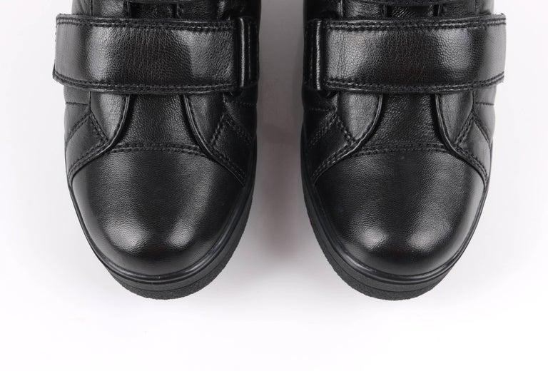 PRADA Sport A/W 2013 Black Vitello Leather Triple Strap Hi Top Wedge Sneakers For Sale 6