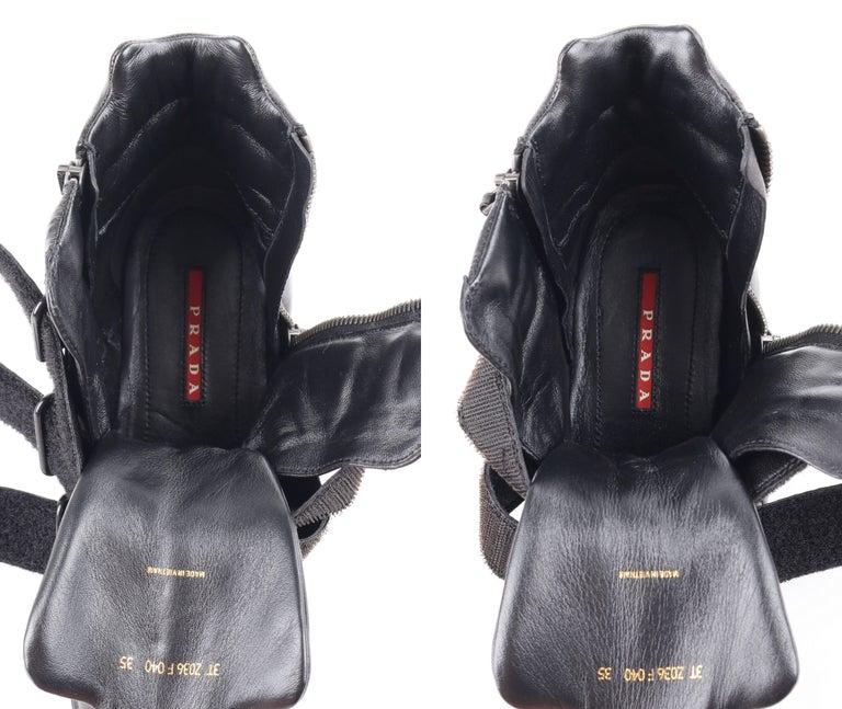 PRADA Sport A/W 2013 Black Vitello Leather Triple Strap Hi Top Wedge Sneakers For Sale 7