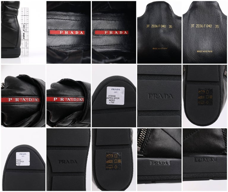 PRADA Sport A/W 2013 Black Vitello Leather Triple Strap Hi Top Wedge Sneakers For Sale 8