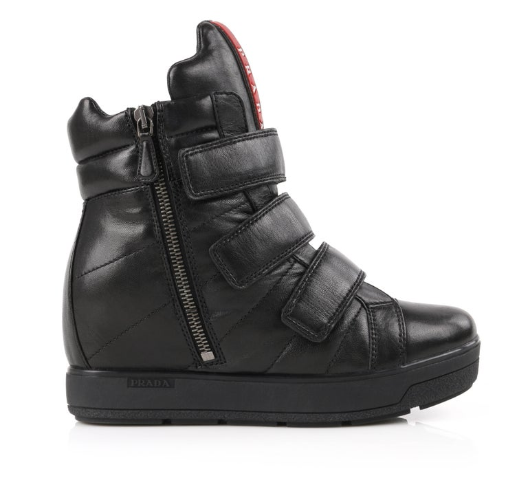 PRADA Sport A/W 2013 Black Vitello Leather Triple Strap Hi Top Wedge Sneakers In New Condition For Sale In Thiensville, WI