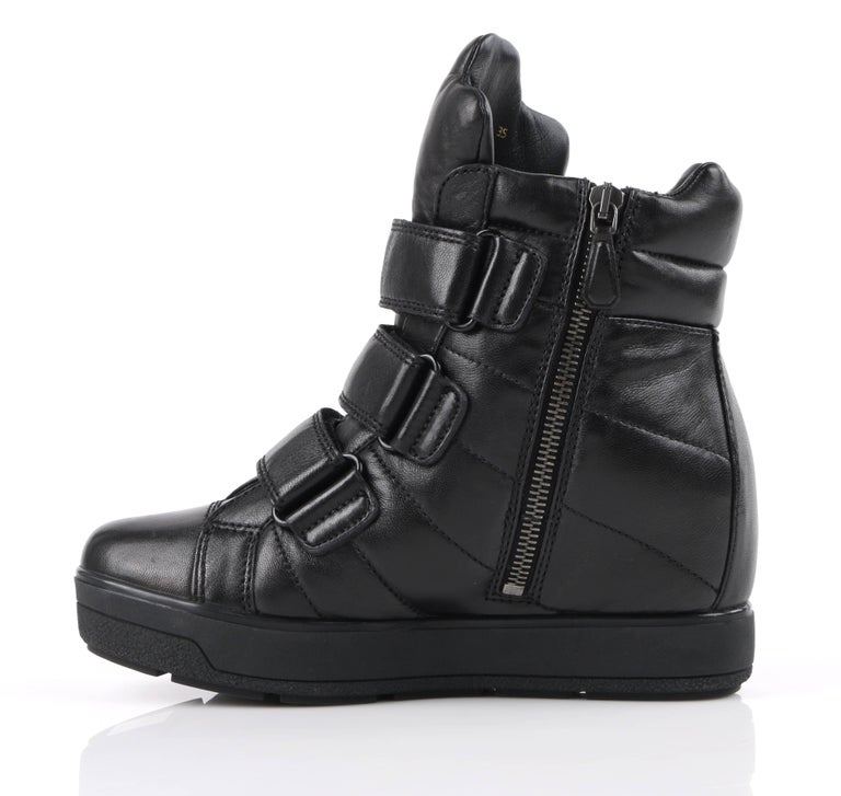 Women's PRADA Sport A/W 2013 Black Vitello Leather Triple Strap Hi Top Wedge Sneakers For Sale