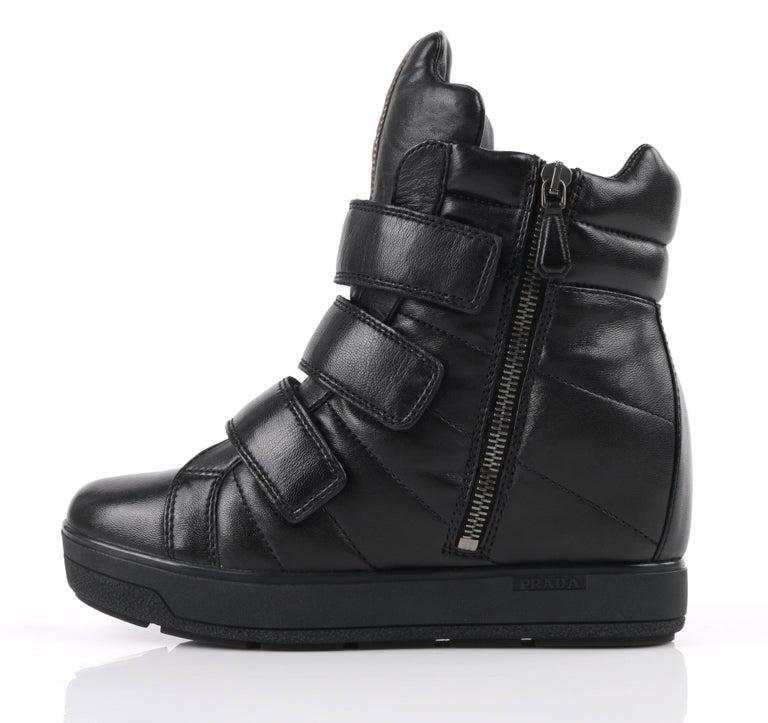 PRADA Sport A/W 2013 Black Vitello Leather Triple Strap Hi Top Wedge Sneakers For Sale 1