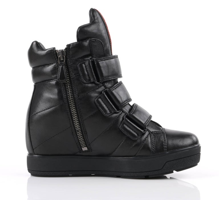 PRADA Sport A/W 2013 Black Vitello Leather Triple Strap Hi Top Wedge Sneakers For Sale 2