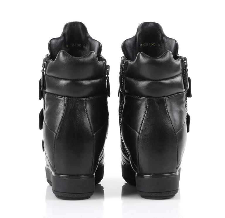 PRADA Sport A/W 2013 Black Vitello Leather Triple Strap Hi Top Wedge Sneakers For Sale 4