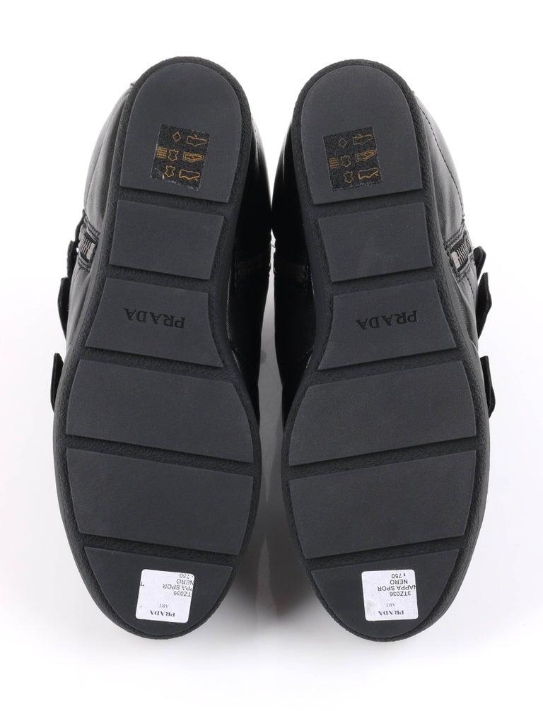 PRADA Sport A/W 2013 Black Vitello Leather Triple Strap Hi Top Wedge Sneakers For Sale 5