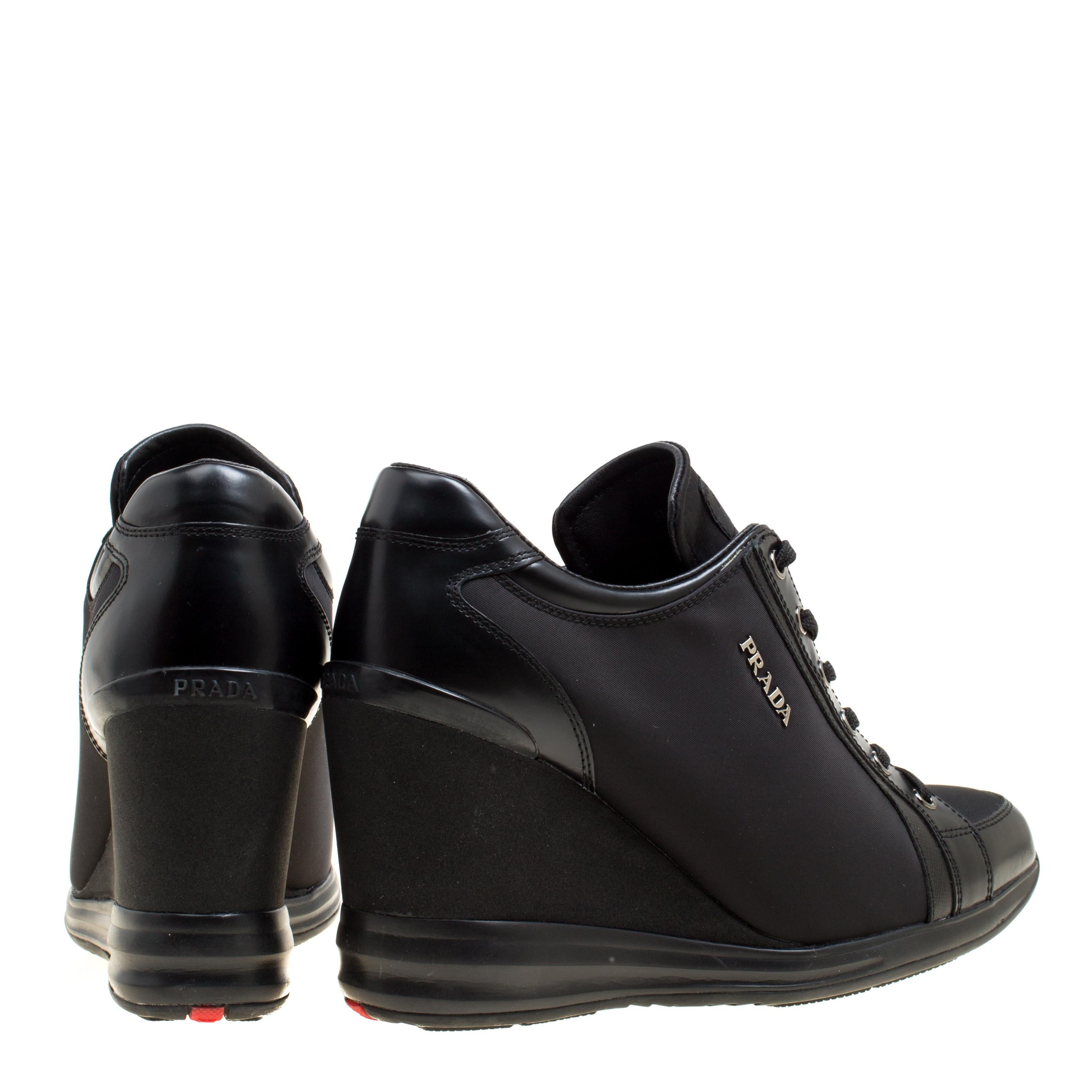 42c6a31881d0 Prada Sport Black Canvas and Leather Wedge Sneakers Size 39.5 For Sale at  1stdibs