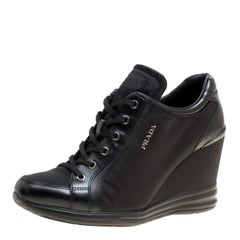 Prada Sport Black Canvas and Leather Wedge Sneakers Size 39.5