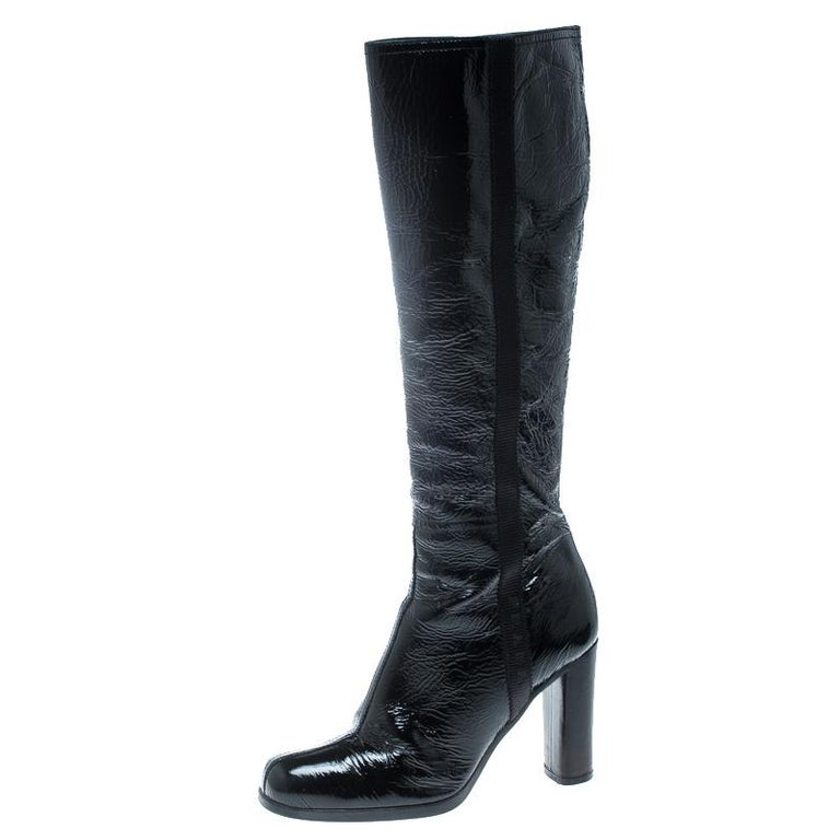 2004e76a787 Prada Sport Black Crinkled Patent Leather Block Heel Knee Boots Size 36.5  For Sale at 1stdibs