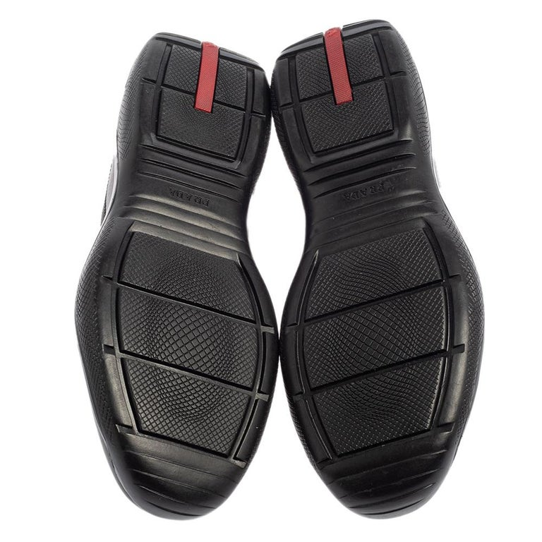 Prada Sport Black Leather And Mesh Lace Up Sneakers Size 43.5 For Sale 1