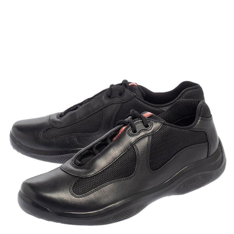 Prada Sport Black Leather And Mesh Lace Up Sneakers Size 43.5 For Sale 3