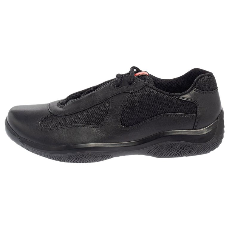 Prada Sport Black Leather And Mesh Lace Up Sneakers Size 43.5 For Sale