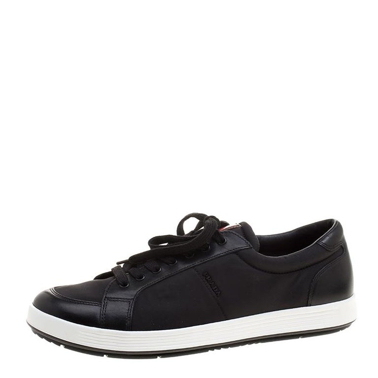 db7046663135 Prada Sport Black Leather and Nylon Low Top Sneakers Size 42 at 1stdibs