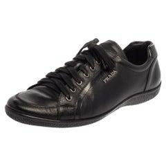 Prada Sport Black Leather Low Top Sneakers Size 41