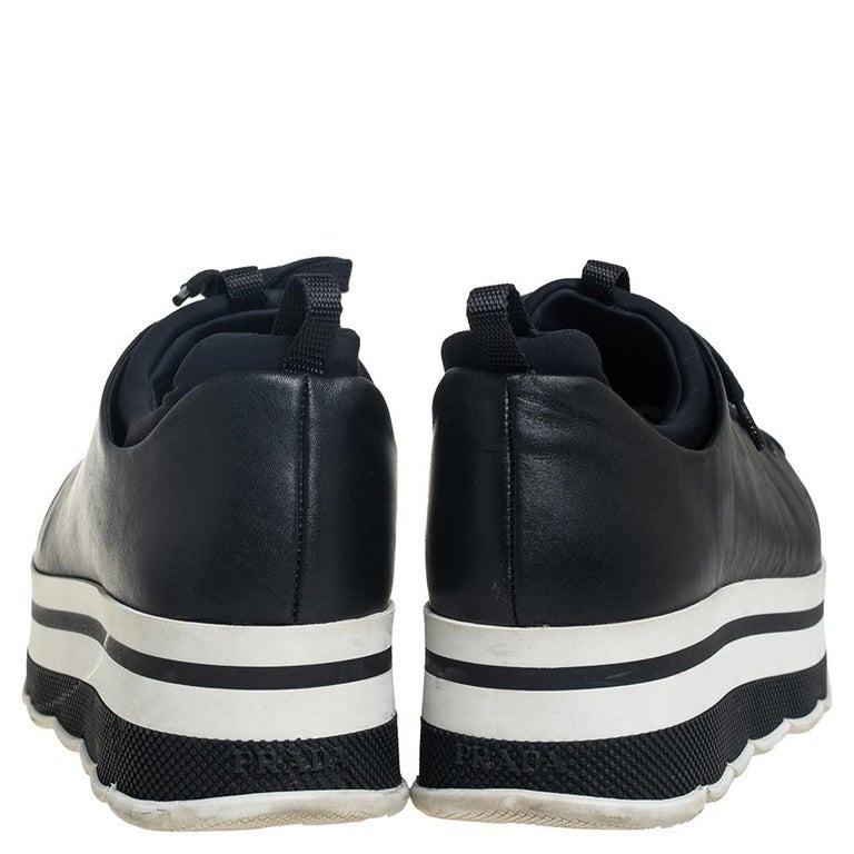 Prada Sport Black Leather Platform Sneakers Size 38 In Good Condition For Sale In Dubai, Al Qouz 2