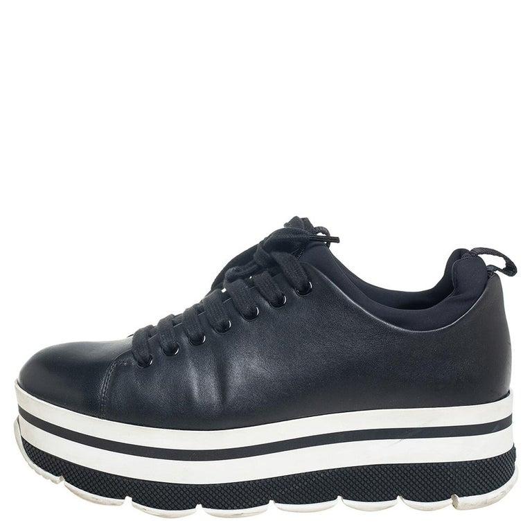 Prada Sport Black Leather Platform Sneakers Size 38 For Sale 1
