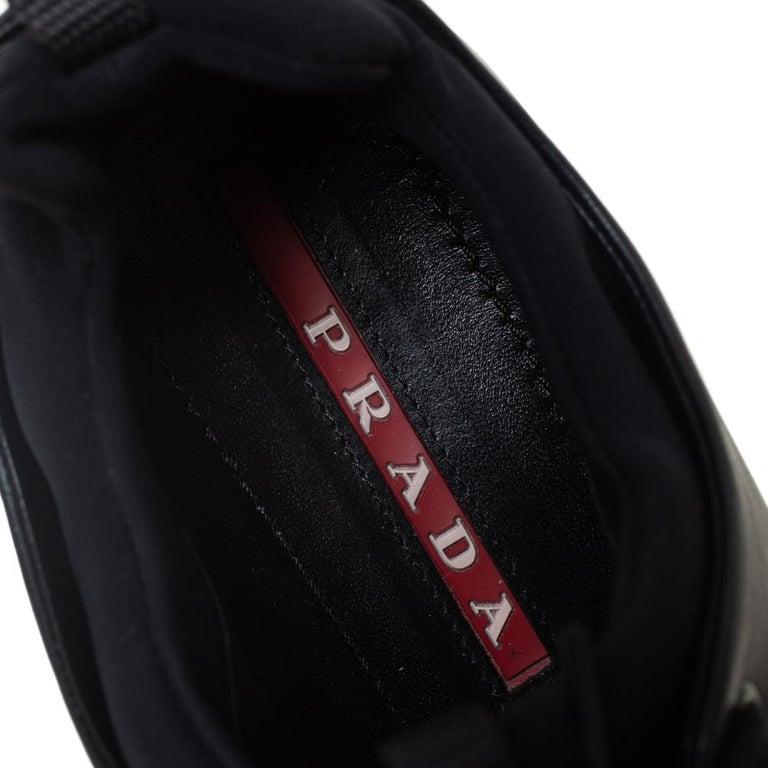 Prada Sport Black Leather Platform Sneakers Size 38 For Sale 2