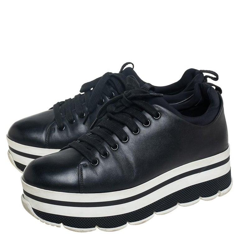 Prada Sport Black Leather Platform Sneakers Size 38 For Sale 3