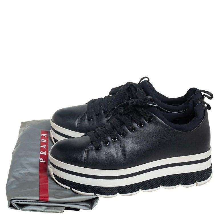 Prada Sport Black Leather Platform Sneakers Size 38 For Sale 4