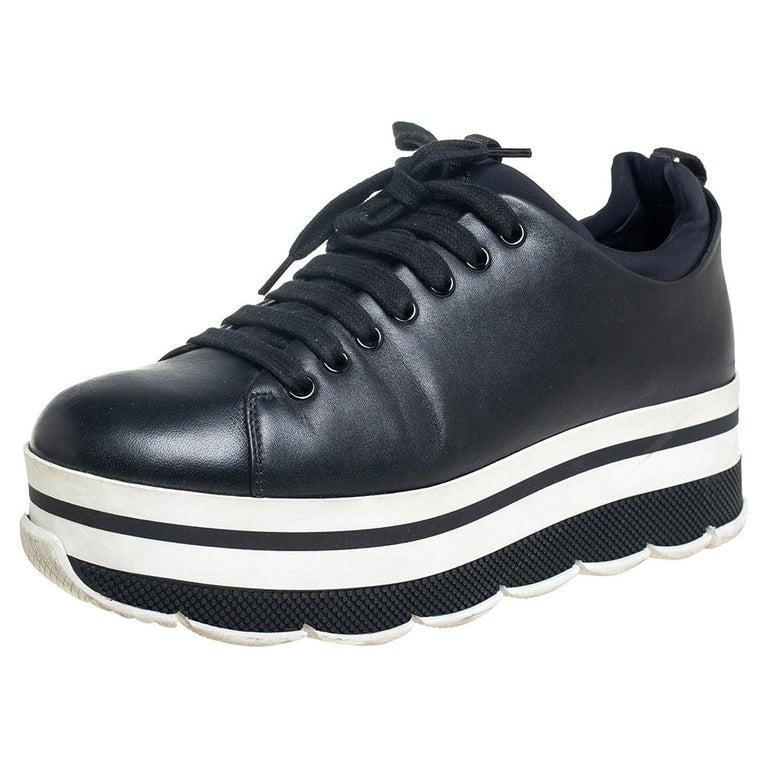 Prada Sport Black Leather Platform Sneakers Size 38 For Sale