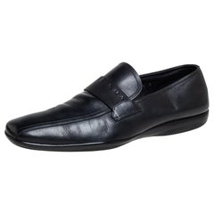 Prada Sport Black Leather Sip On Loafers Size 43